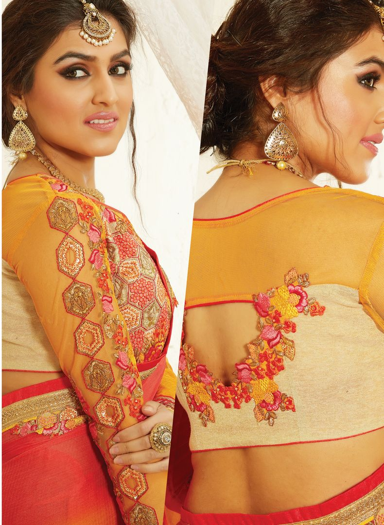 Orange & Pink Color Chiffon Designer Embroidered Sarees : Avnira Collection  NYF-2901 - YellowFashion.in