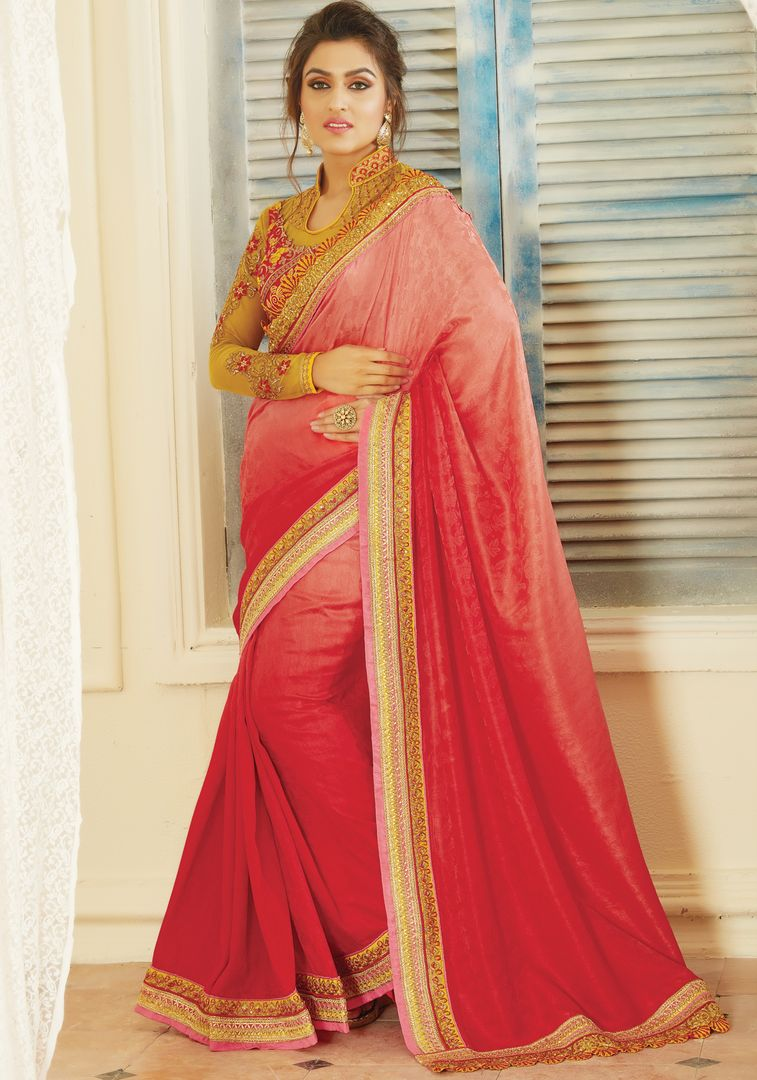 Pink & Red Color Jacquard Crepe Designer Embroidered Sarees : Avnira Collection  NYF-2902 - YellowFashion.in