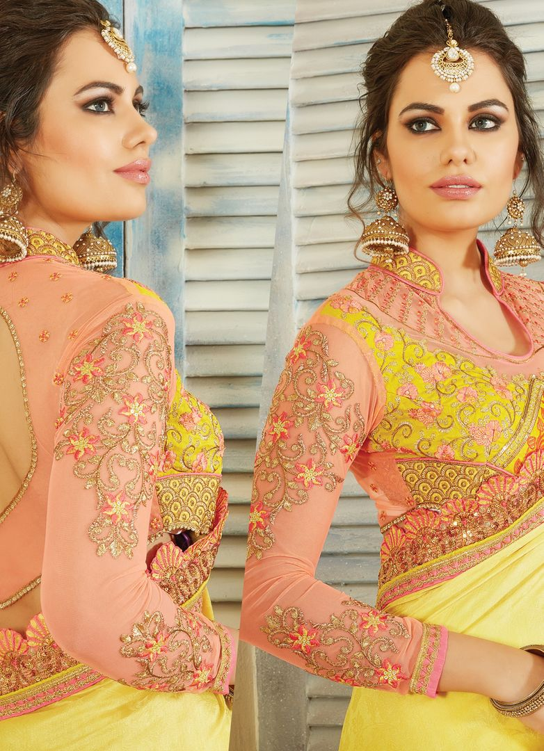 Light & Dark Yellow Color Jacquard Crepe Designer Embroidered Sarees : Avnira Collection  NYF-2903 - YellowFashion.in