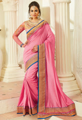 Pink Color Raw Silk Designer Embroidered Sarees : Avnira Collection  NYF-2904