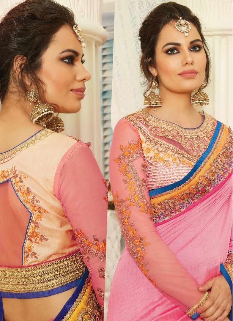 Pink Color Raw Silk Designer Embroidered Sarees : Avnira Collection  NYF-2904 - YellowFashion.in