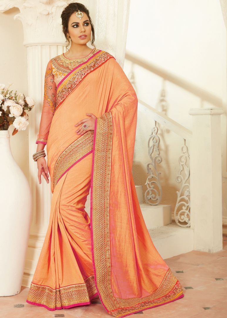 Light Orange Color Raw Silk Designer Embroidered Sarees : Avnira Collection  NYF-2905 - YellowFashion.in
