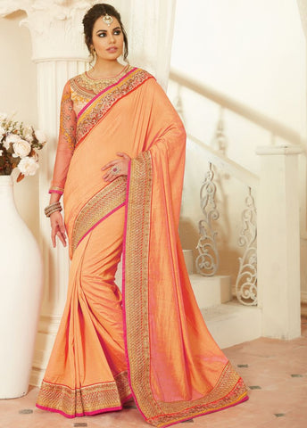 Light Orange Color Raw Silk Designer Embroidered Sarees : Avnira Collection  NYF-2905