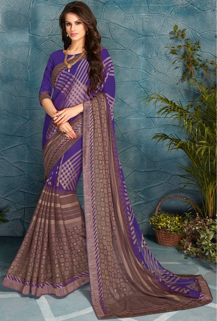 Purple Color Chiffon Crepe Party Wear Sarees : Pinati Collection  NYF-3337 - YellowFashion.in