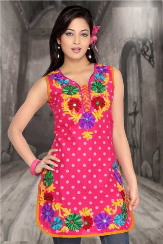 Cotton Pink colour Casual Kurti : Youthful Collection -  YF-7105 (Size : Medium (38))