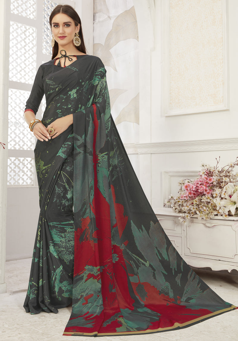 Black Color Crepe  Office Wear Sarees NYF-8538