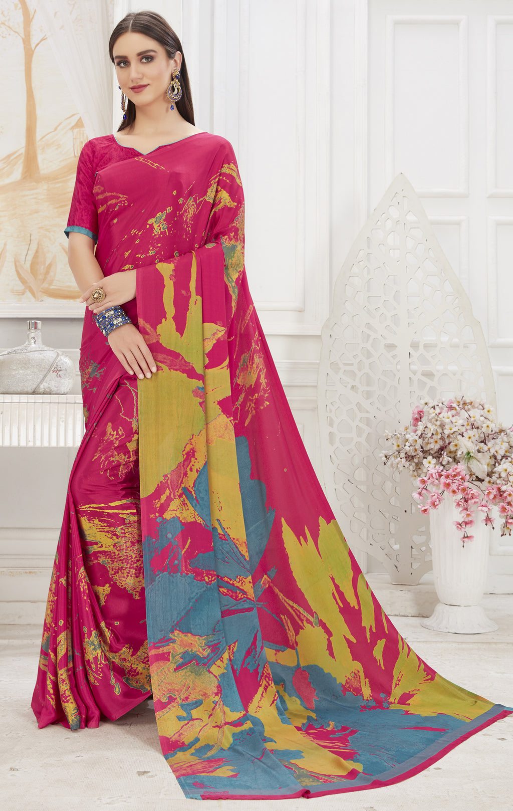 Pink Color Crepe  Office Wear Sarees NYF-8539