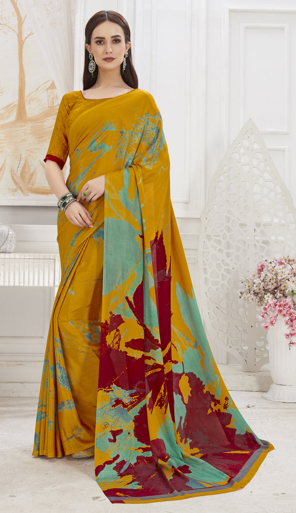 Mustard Yellow Color Crepe  Office Wear Sarees NYF-8540