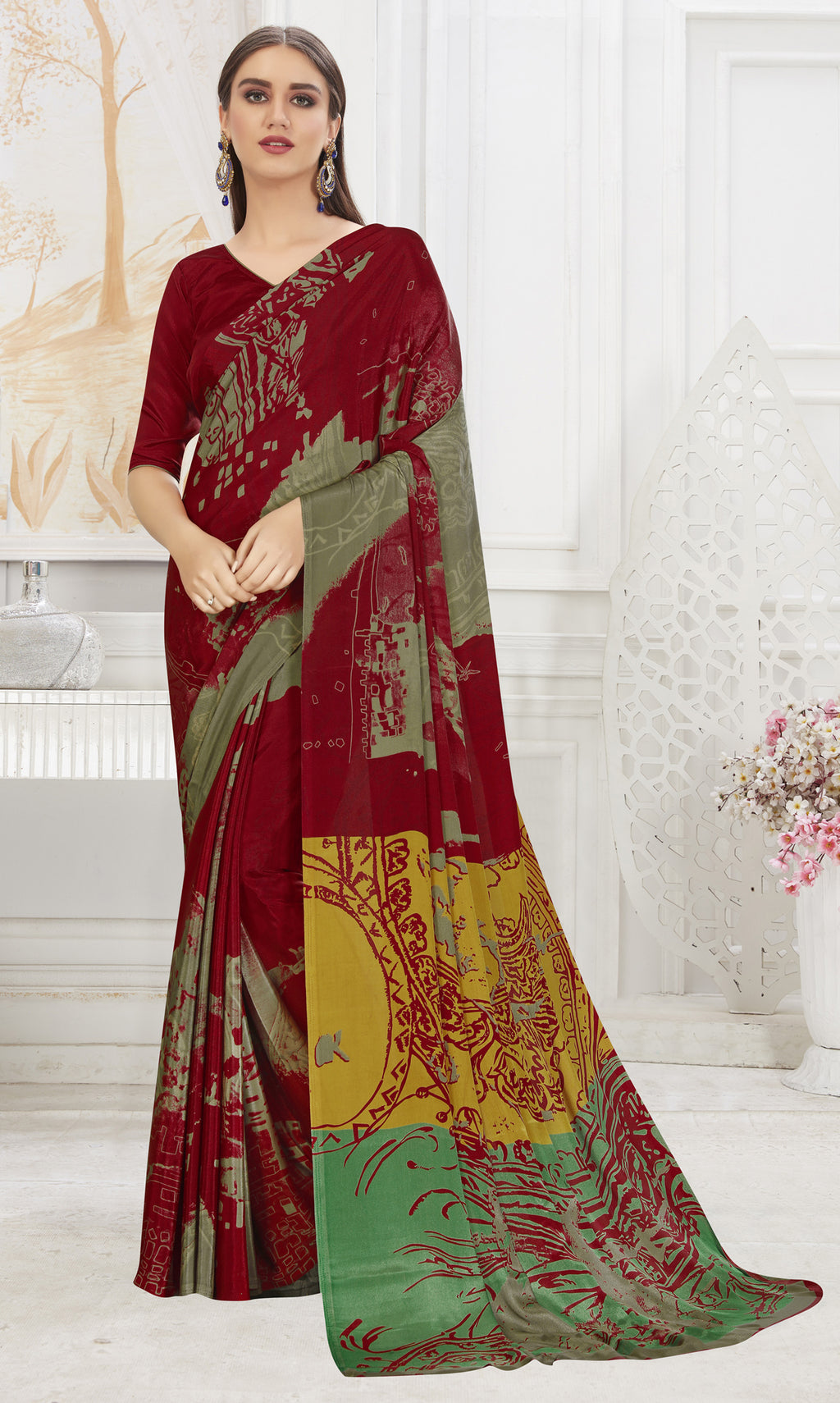 Maroon Color Crepe  Office Wear Sarees NYF-8541