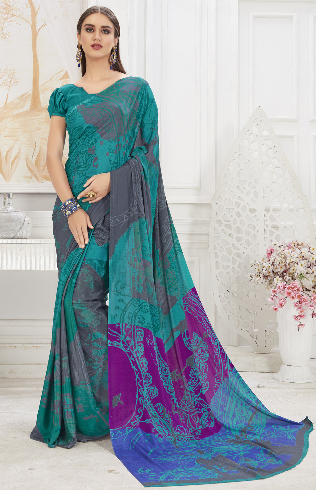 Rama Green Color Crepe  Office Wear Sarees NYF-8542