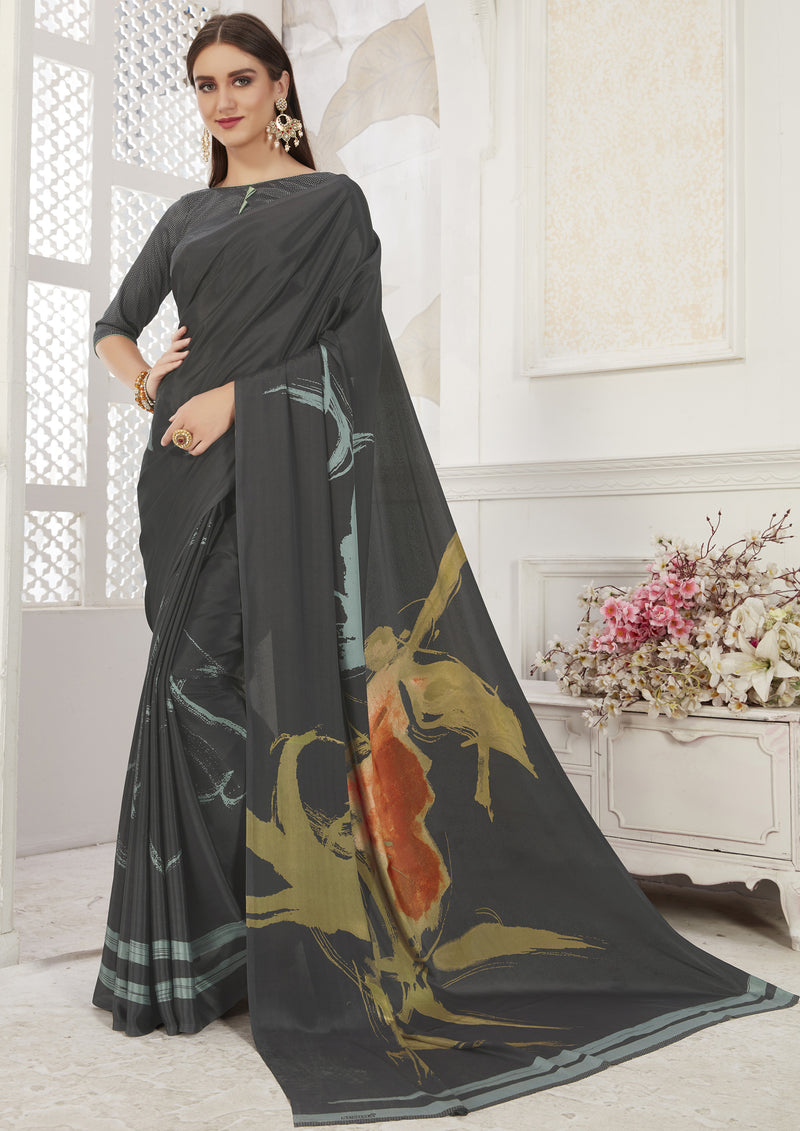 Blackish Grey Color Crepe  Office Wear Sarees NYF-8543