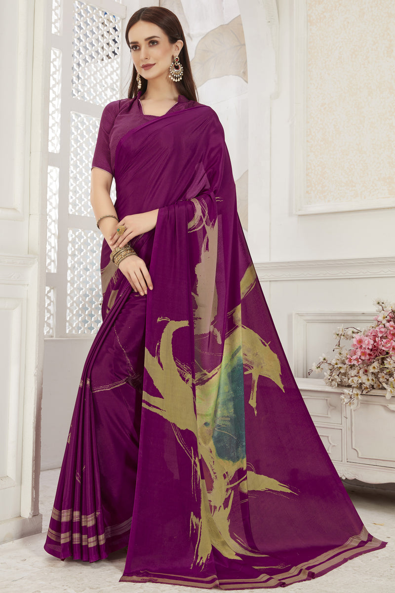 Purple Color Crepe  Office Wear Sarees NYF-8544