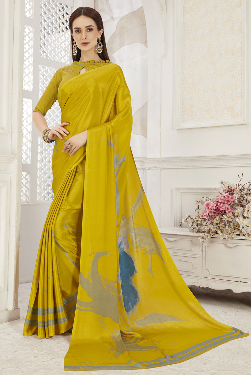 Yellow Color Crepe  Office Wear Sarees NYF-8545