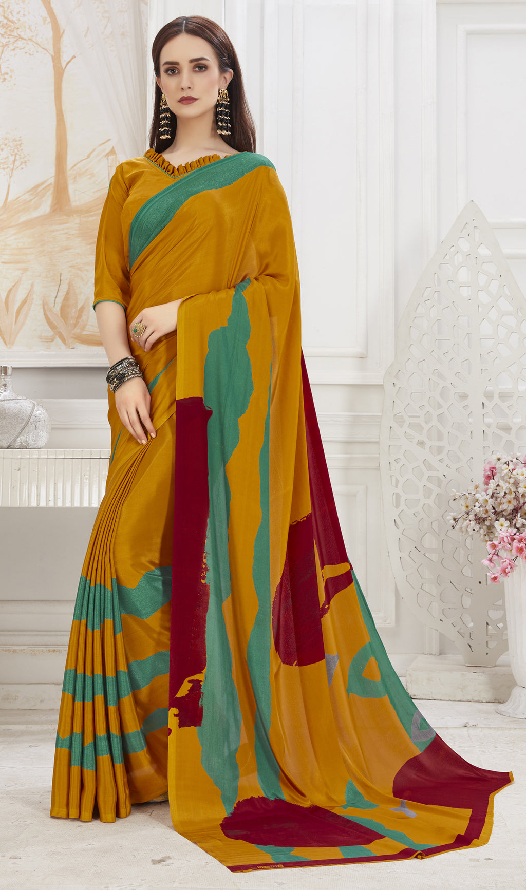 Mustard Yellow Color Crepe  Office Wear Sarees NYF-8546