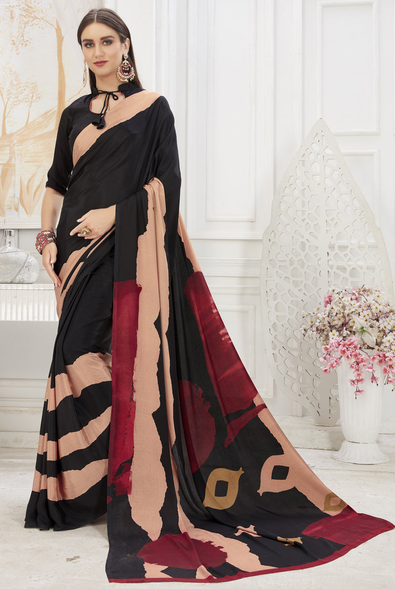 Black Color Crepe  Office Wear Sarees NYF-8547