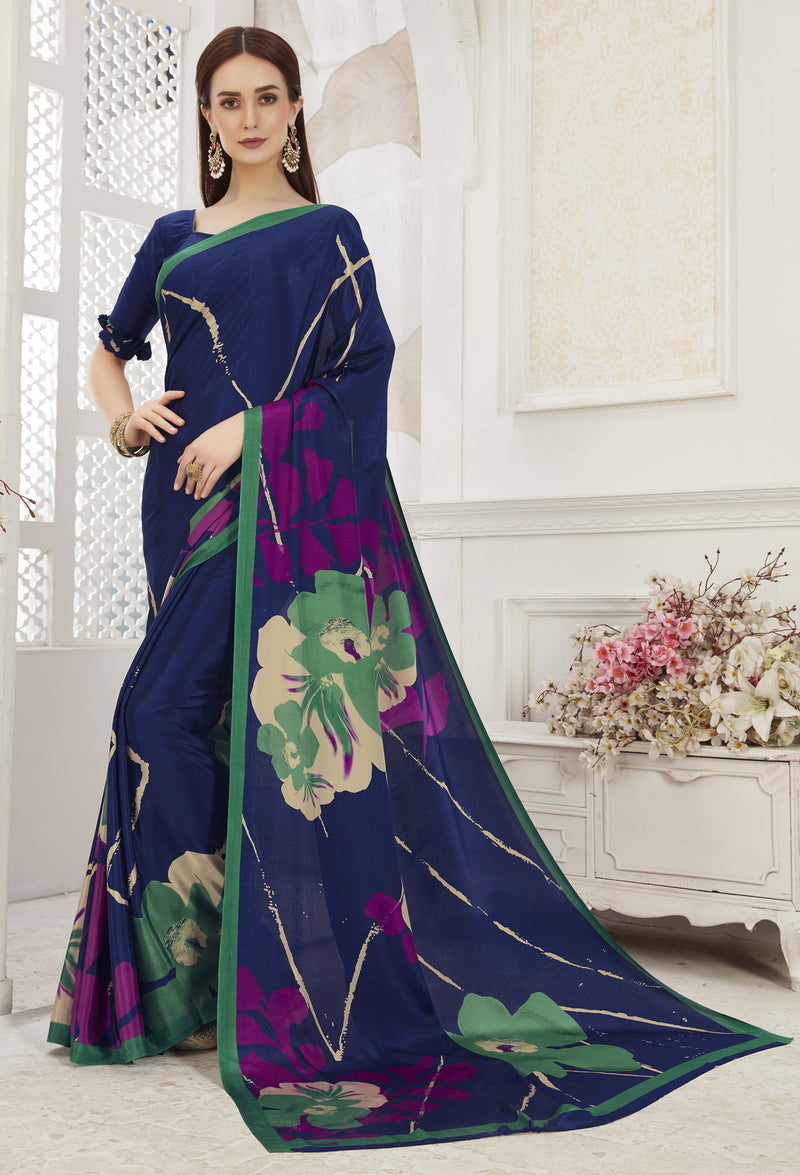 Blue Color Crepe  Office Wear Sarees NYF-8548