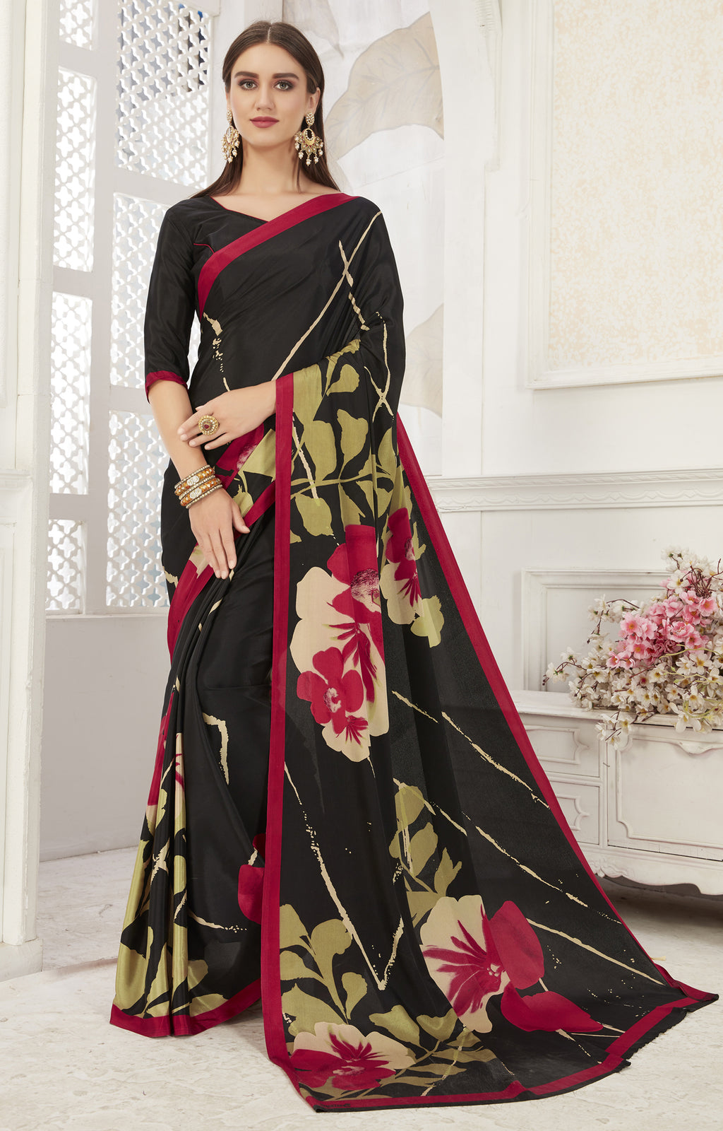 Black Color Crepe  Office Wear Sarees NYF-8549