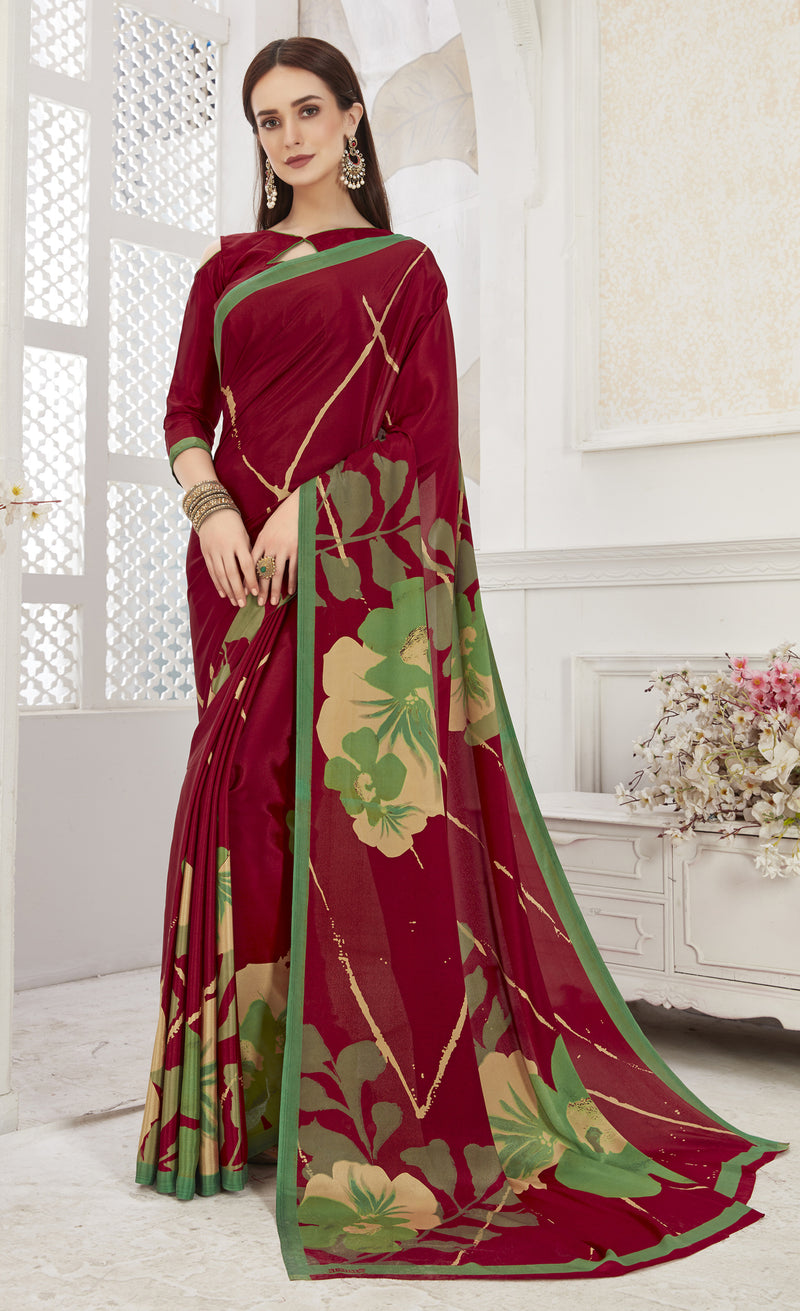 Maroon  Color Crepe  Office Wear Sarees NYF-8550