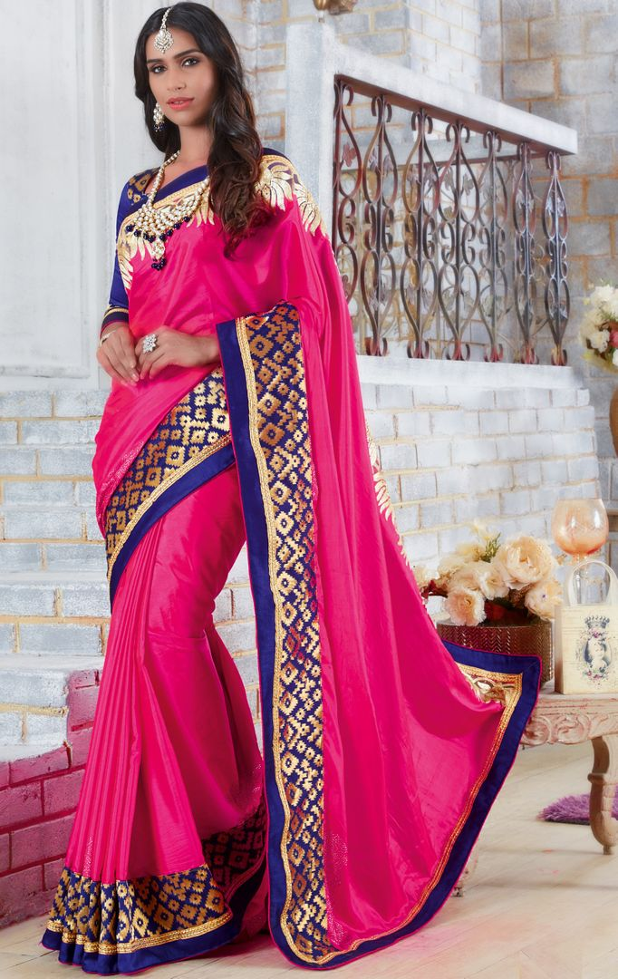Rani Pink Color Silk Designer Festive Sarees : Farida Collection  NYF-2845 - YellowFashion.in