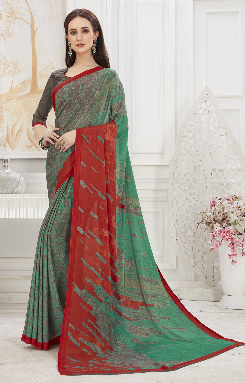 Multi Color Crepe  Office Wear Sarees NYF-8551
