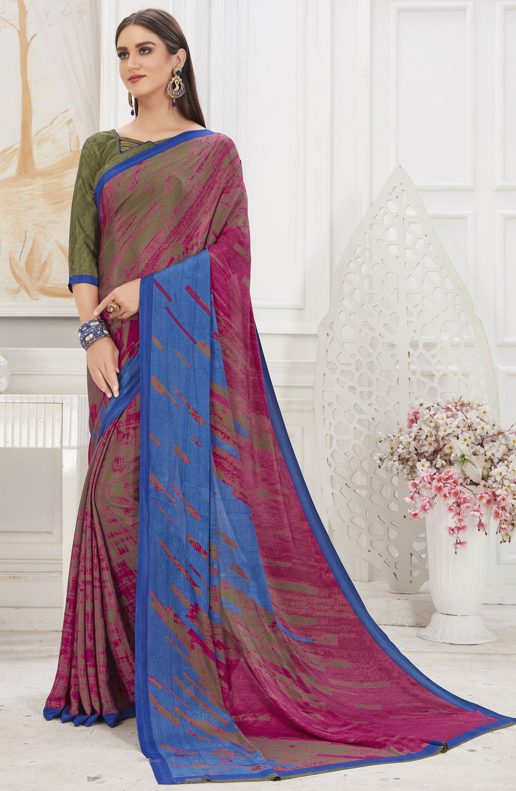 Pink & Blue Color Crepe  Office Wear Sarees NYF-8552