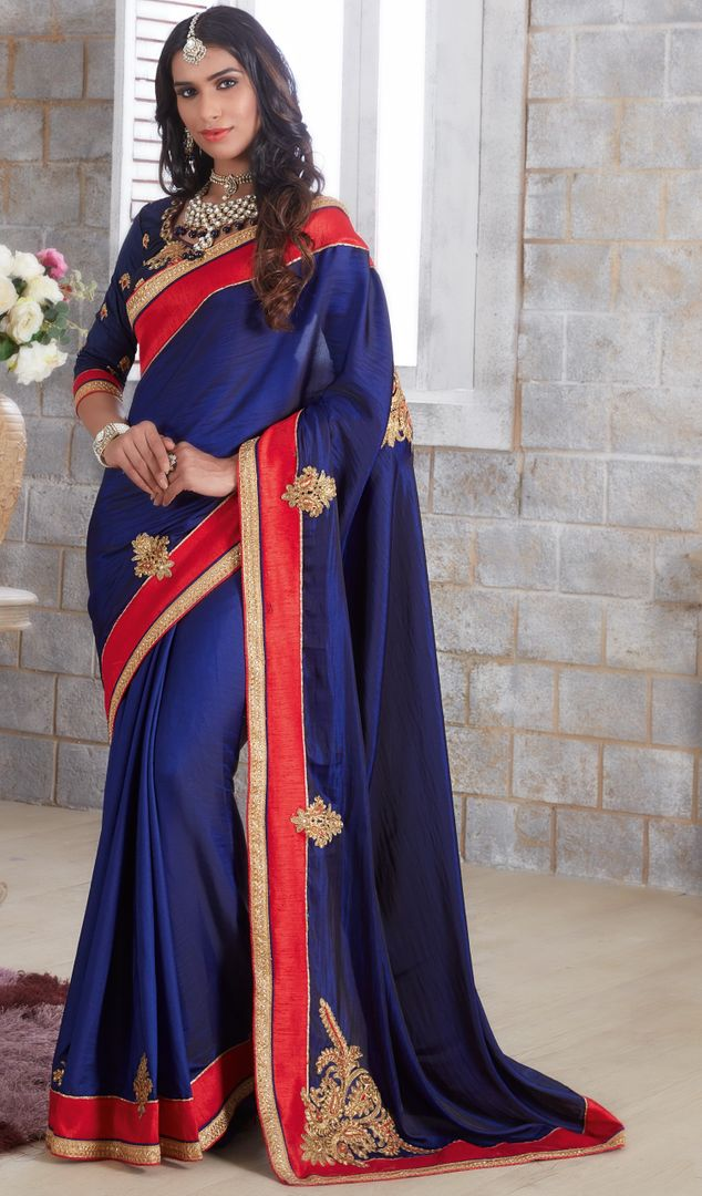 Blue Color Silk Designer Festive Sarees : Farida Collection  NYF-2847 - YellowFashion.in