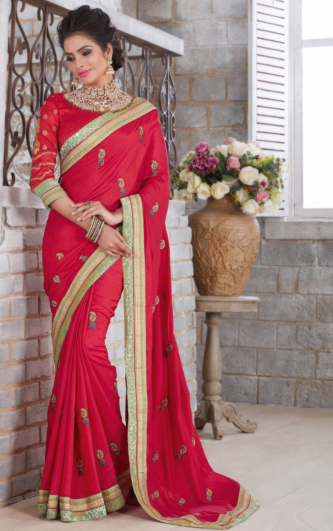 Red Color Silk Designer Festive Sarees : Farida Collection  NYF-2848 - YellowFashion.in