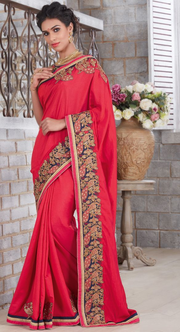 Red Color Silk Designer Festive Sarees : Farida Collection  NYF-2849 - YellowFashion.in