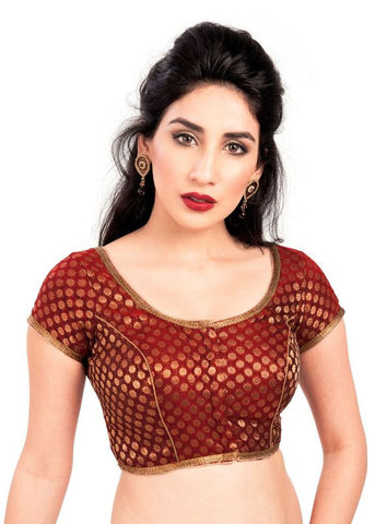maroon Color Brocade Readymade Function Wear Blouses ( Sizes - 32, 34, 36, 38, 40, 42 ): Samita Collection  YF-38556
