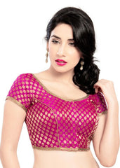 pink Color Brocade Readymade Function Wear Blouses ( Sizes - 32, 34, 36, 38, 40, 42 ): Samita Collection  YF-38568