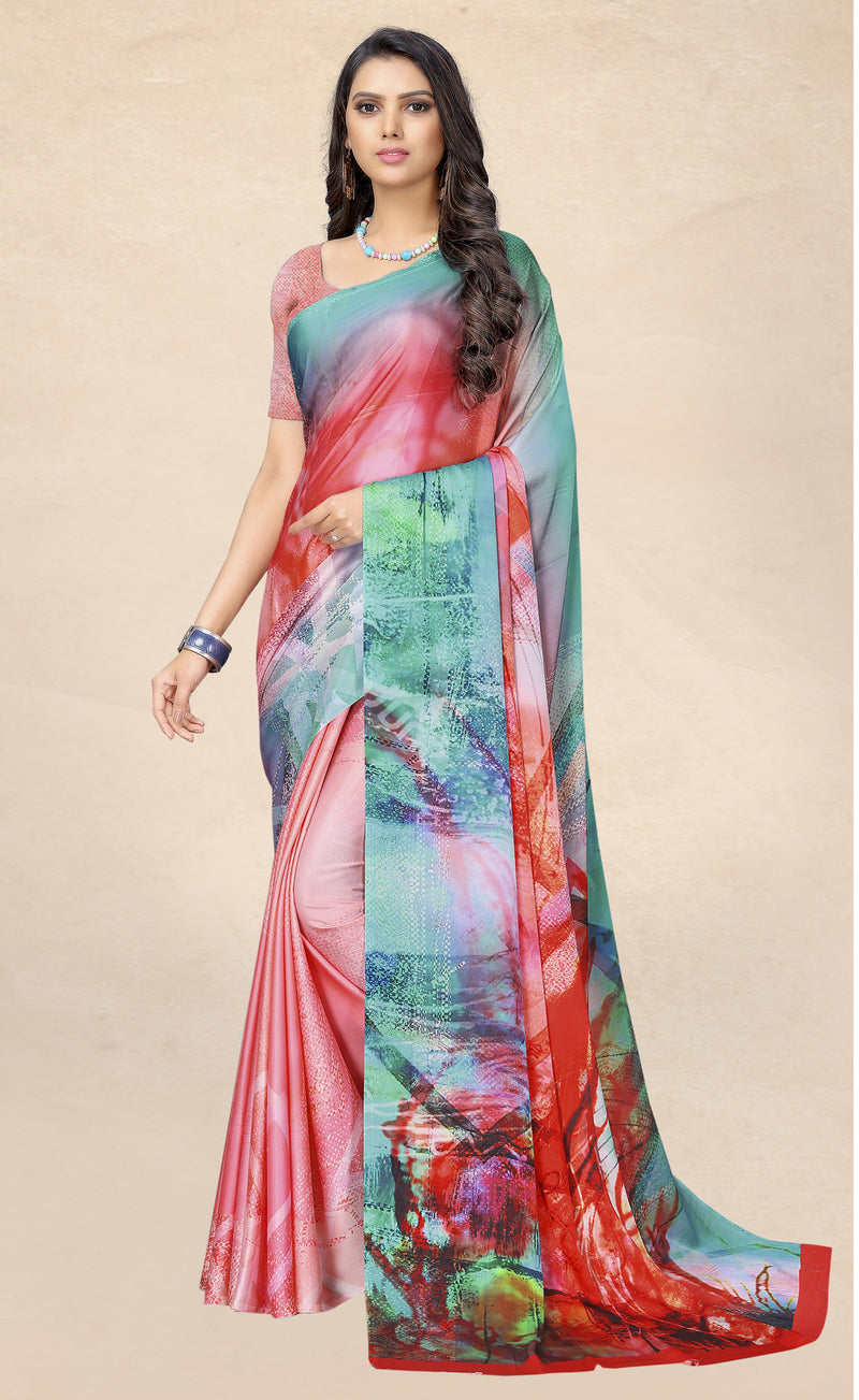 Multi Color Satin Digital Print Kitty Party Sarees NYF-8139