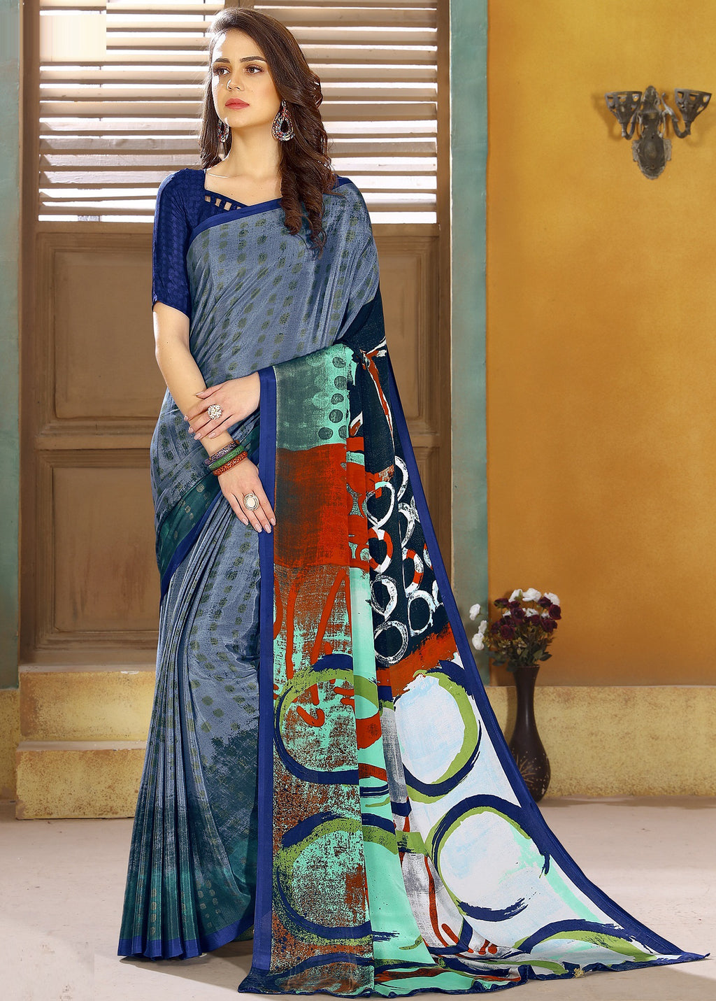 Grey Color Crepe Kitty Party Sarees NYF-8799