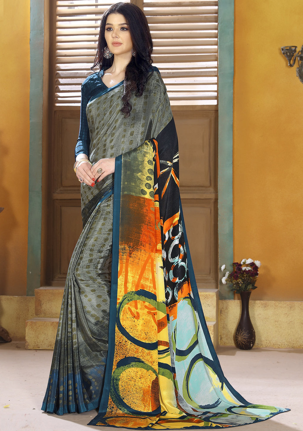 Grey Color Crepe Kitty Party Sarees NYF-8800