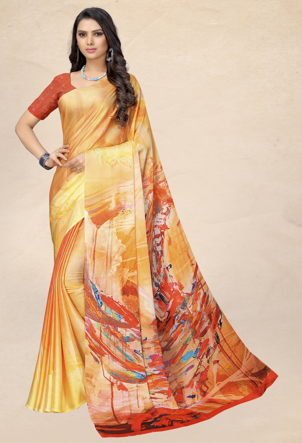 Yellow & Orange Color Satin Digital Print Kitty Party Sarees NYF-8140