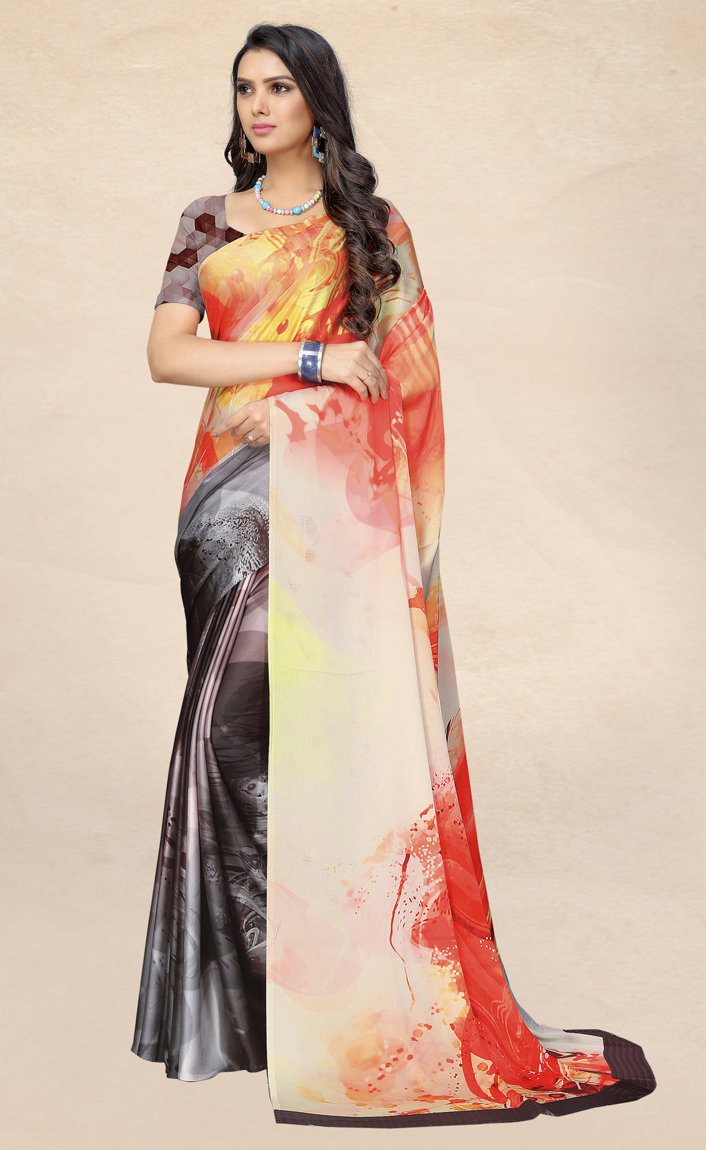 Multi Color Satin Digital Print Kitty Party Sarees NYF-8141