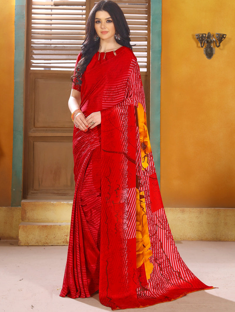 Red Color Crepe Kitty Party Sarees NYF-8804