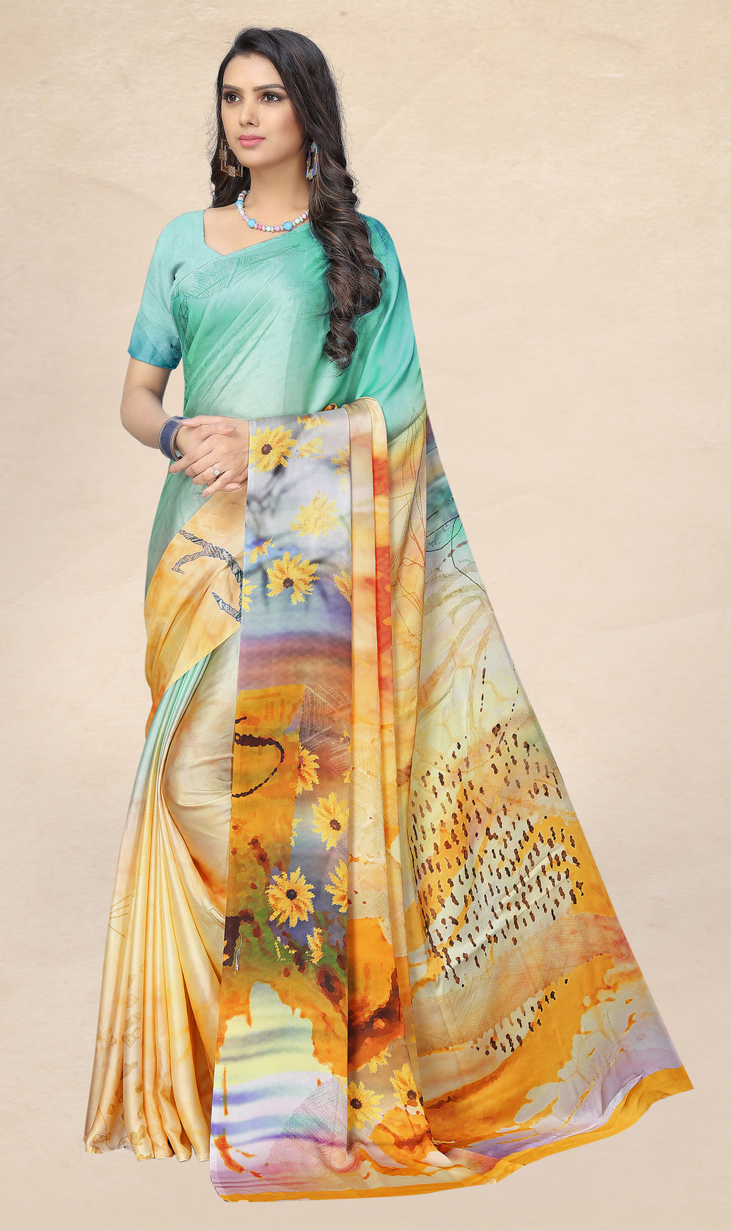 Multi Color Satin Digital Print Kitty Party Sarees NYF-8142