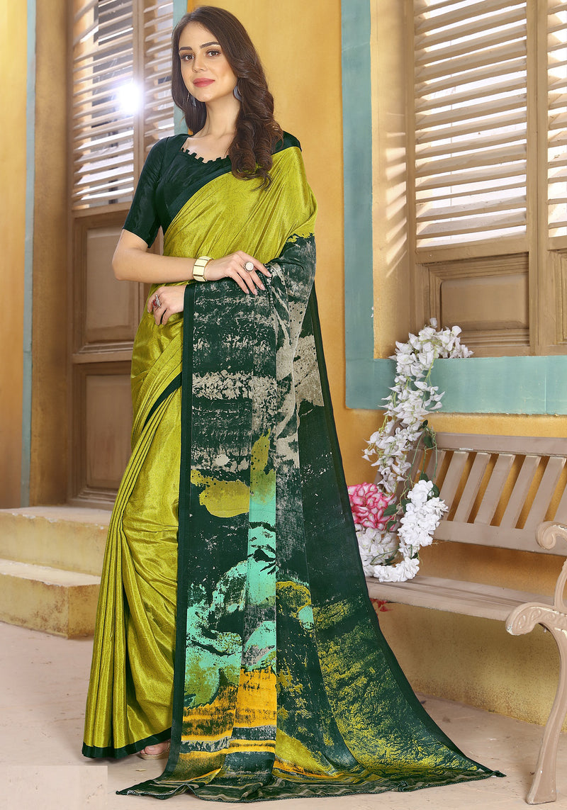 Parrot Green & Green Color Crepe Kitty Party Sarees NYF-8805
