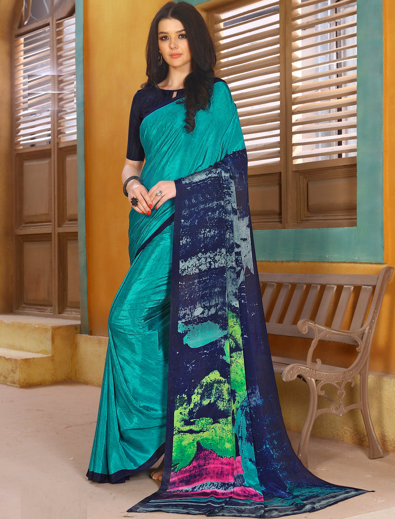 Firozi & Blue Color Crepe Kitty Party Sarees NYF-8806