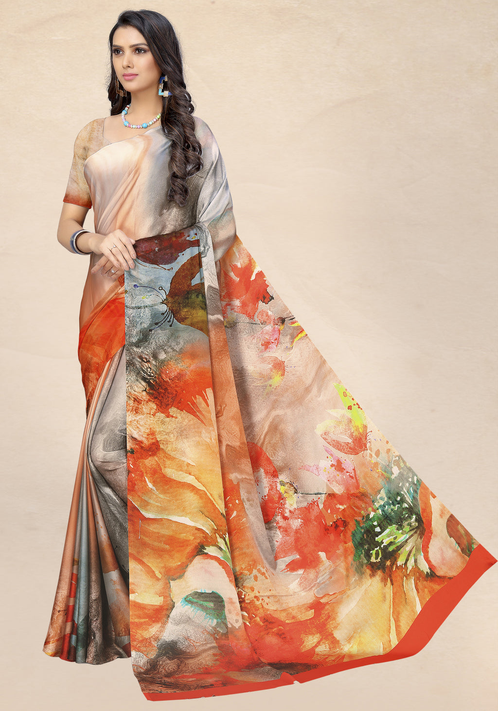 Multi Color Satin Digital Print Kitty Party Sarees NYF-8143