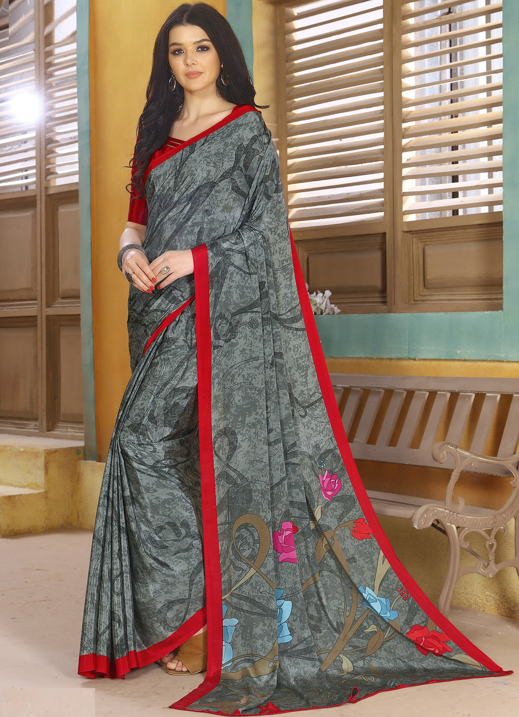 Grey Color Crepe Kitty Party Sarees NYF-8809
