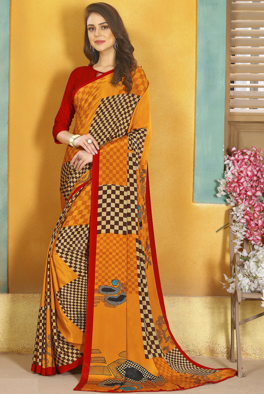 Orange Color Crepe Kitty Party Sarees NYF-8819