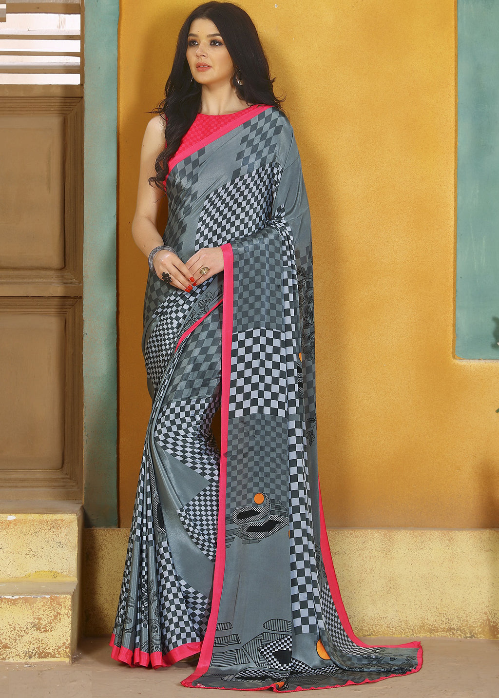 Grey Color Crepe Kitty Party Sarees NYF-8820