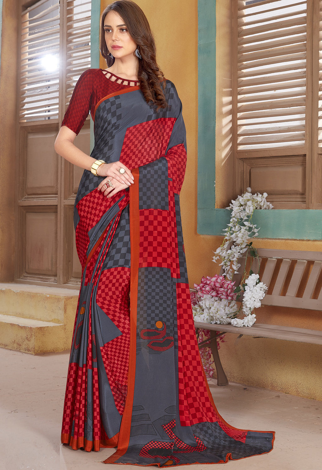Grey & Red Color Crepe Kitty Party Sarees NYF-8821