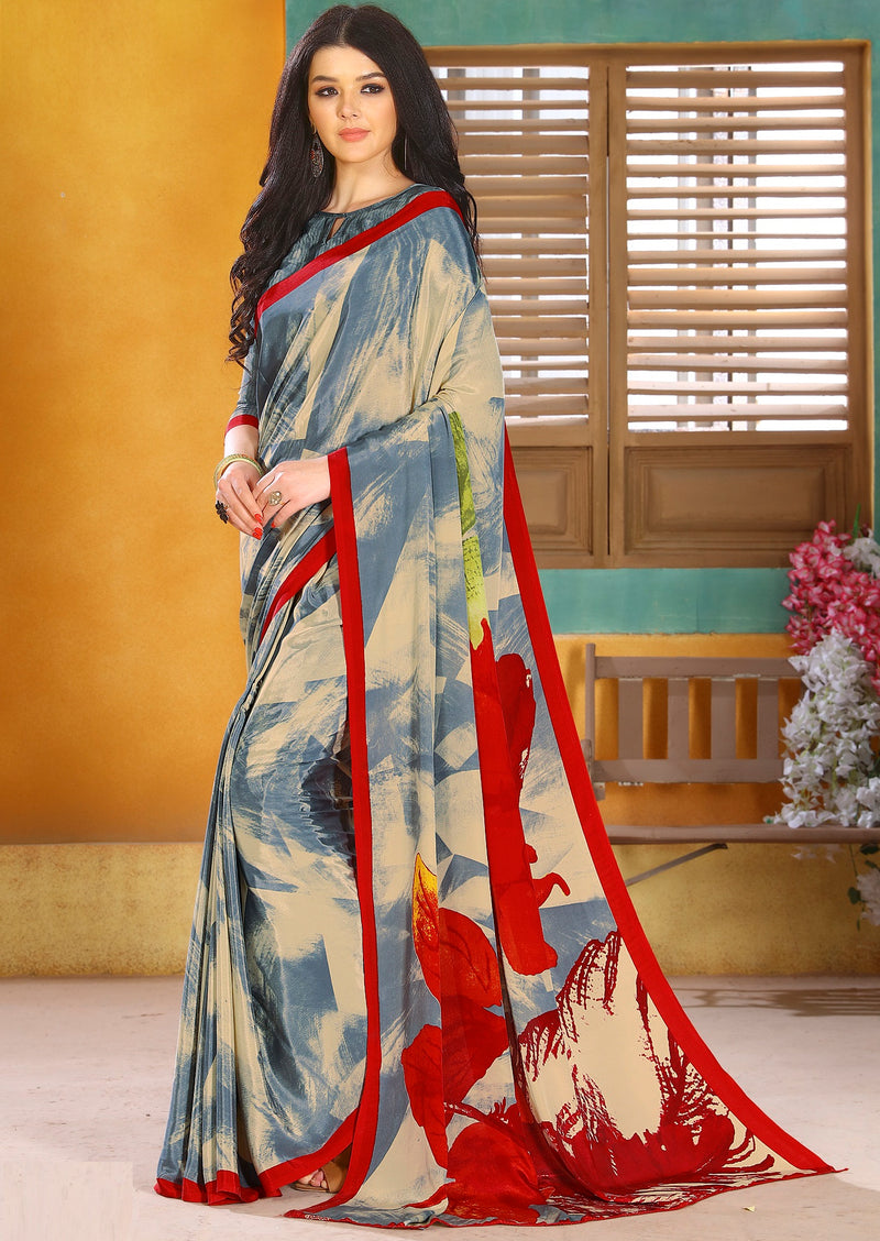Grey & Red Color Crepe Kitty Party Sarees NYF-8822