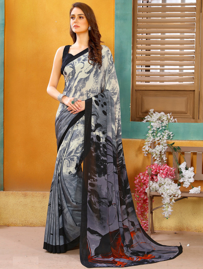 Grey Color Crepe Kitty Party Sarees NYF-8824