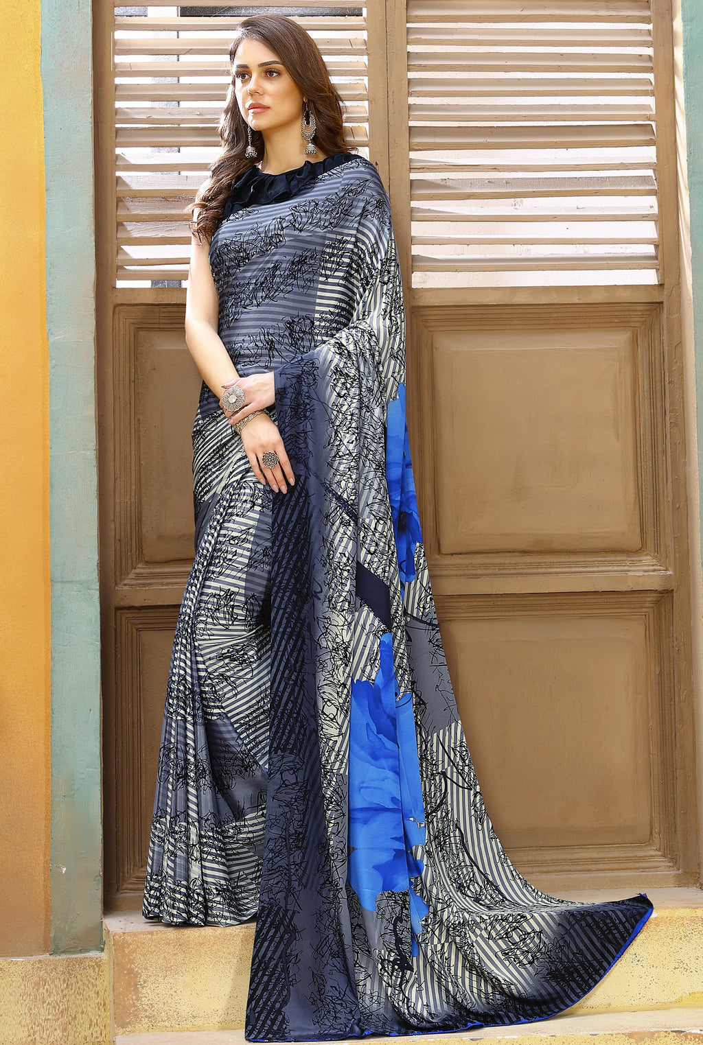 Grey & Blue Color Crepe Kitty Party Sarees NYF-8825