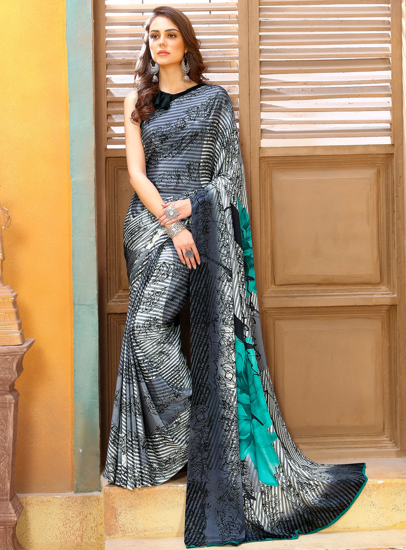 Grey & Sea Green Color Crepe Kitty Party Sarees NYF-8826