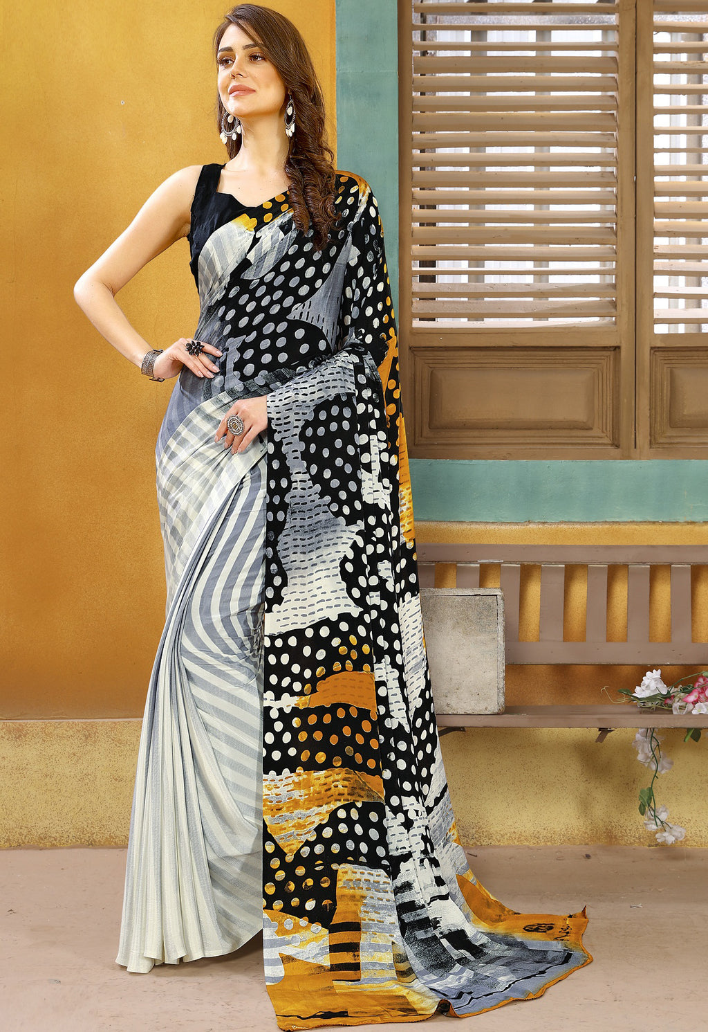 Grey, Black & Off White  Color Crepe Kitty Party Sarees NYF-8827