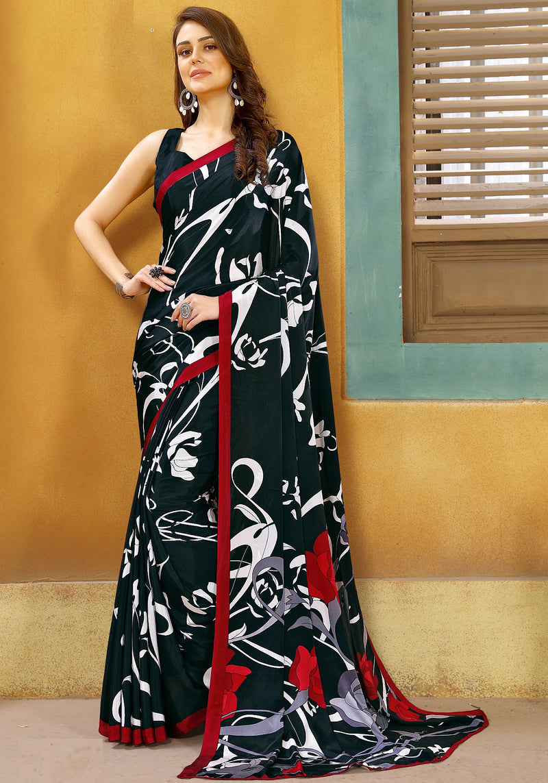 Black Color Crepe Kitty Party Sarees NYF-8828